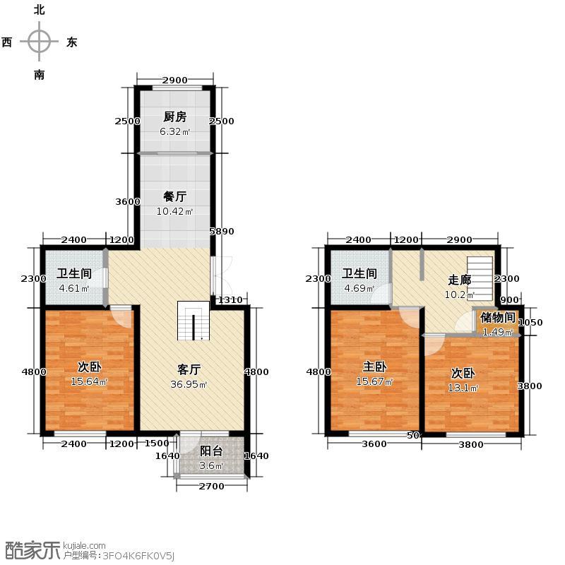 南湖祥水湾151.77㎡越层17#楼D户型3室1厅2卫1厨