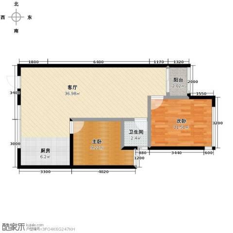 金莎雅苑2室1厅1卫0厨87.00㎡户型图
