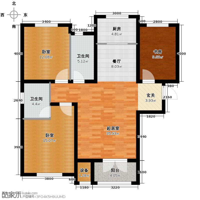 泽信金汇湾132.00㎡高层G户型3室2厅2卫
