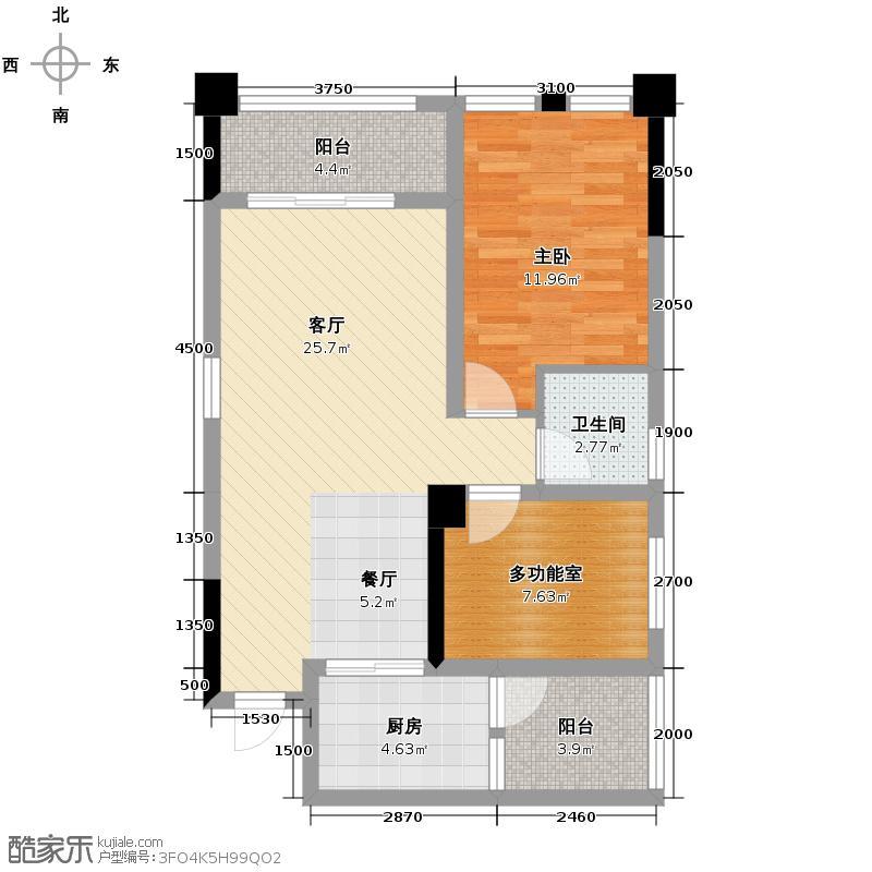 禹鑫亚瑟的城堡78.00㎡D4(可变)户型1室2厅1卫