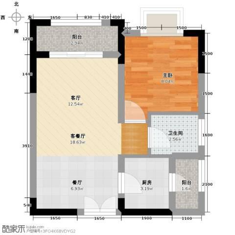 壹江城C调1室1厅1卫1厨43.00㎡户型图