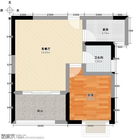 金辉苹果城1厅1卫1厨43.00㎡户型图