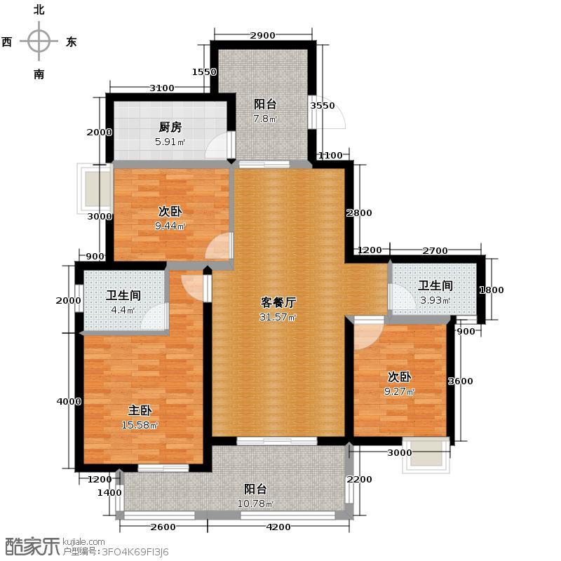 听城134.77㎡D户型3室1厅2卫1厨
