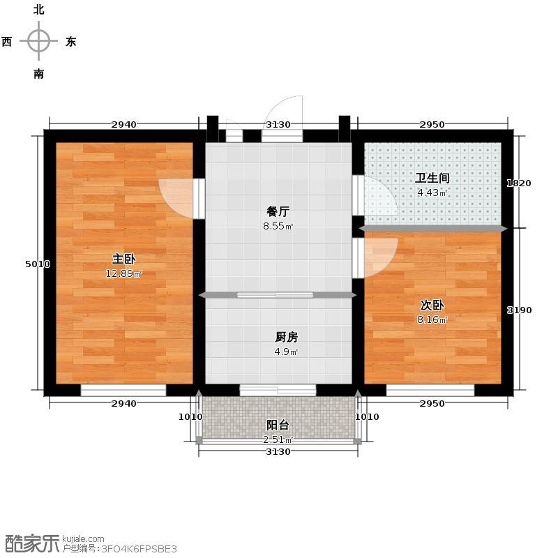 塞纳阳光57.27㎡多层d5户型2室1厅1卫