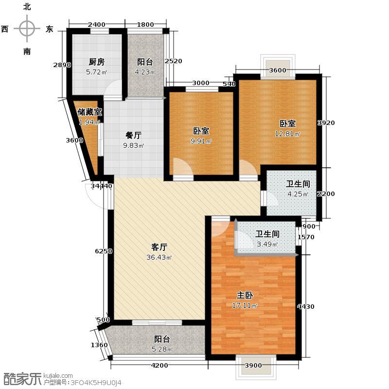 鼎鑫摩卡小镇121.62㎡房型户型1室1厅2卫1厨