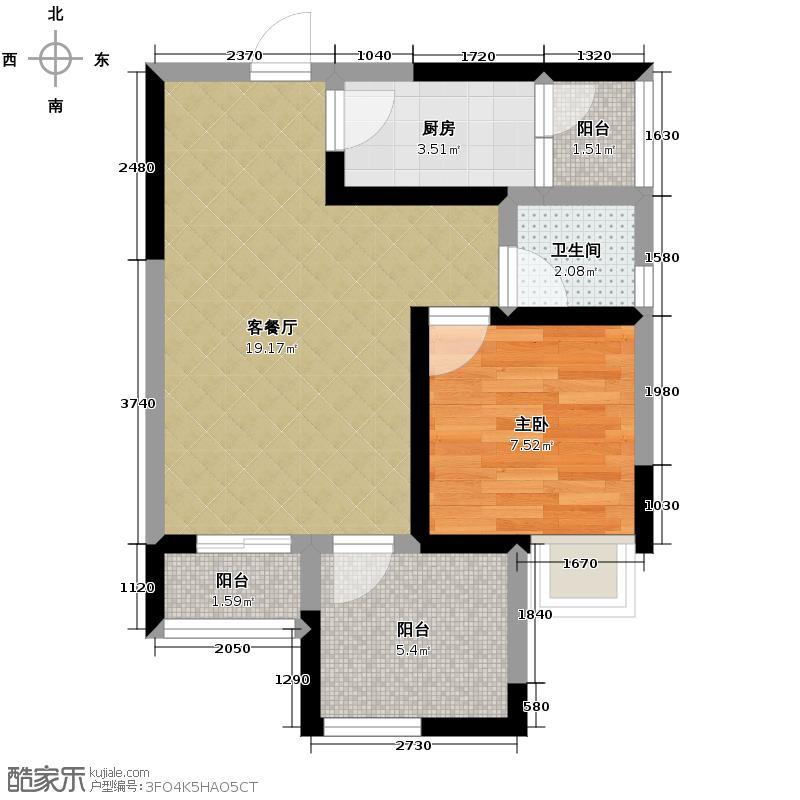 华西雅筑69.00㎡3号楼D户型1室1厅1卫1厨