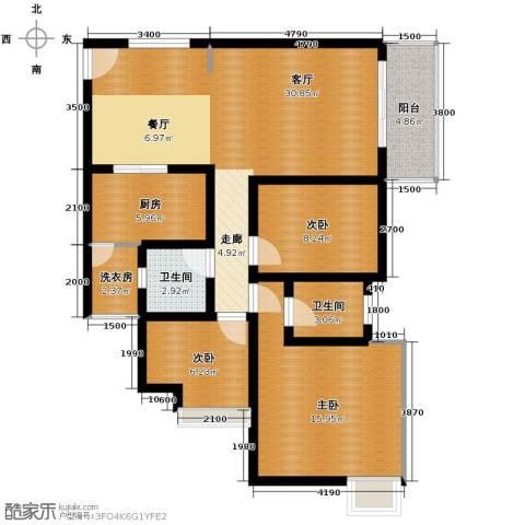 金莎雅苑3室1厅2卫1厨117.00㎡户型图