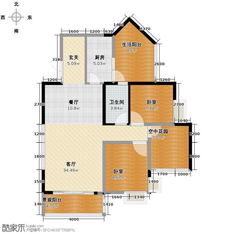 黔灵山国际社区89.34㎡B栋户型1厅1卫1厨