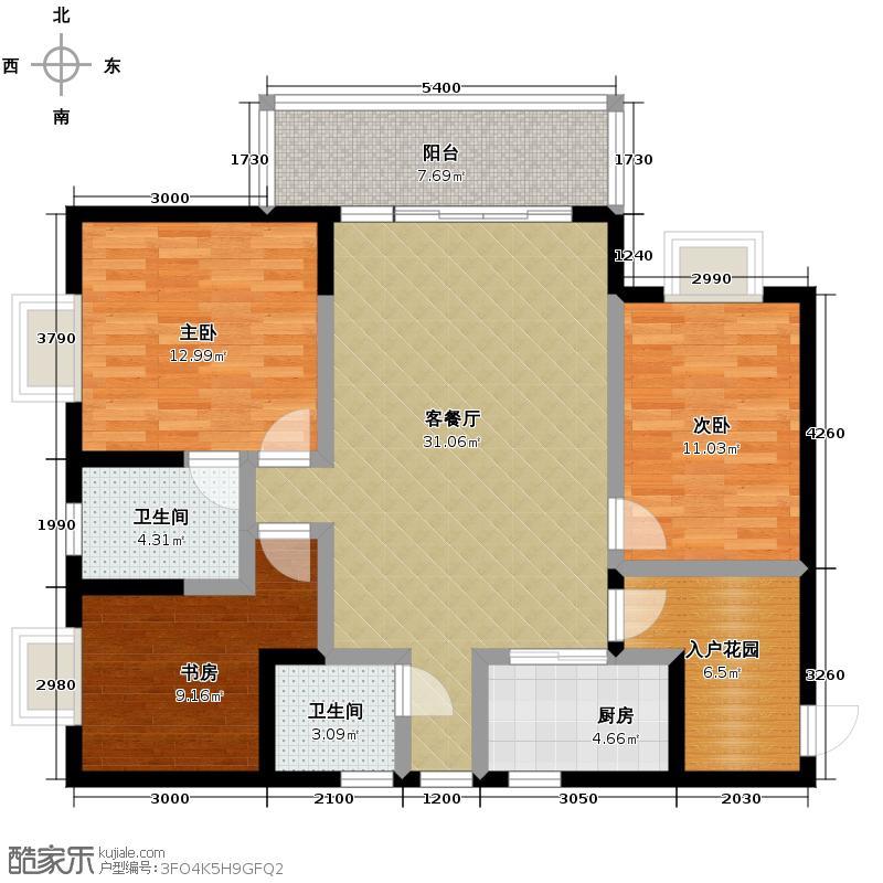朝阳时代西锦105.36㎡9号楼A1户型3室2厅2卫