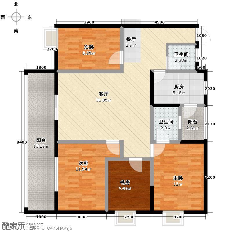 盛美居110.01㎡一期1栋-3-1标准层户型4室2厅2卫