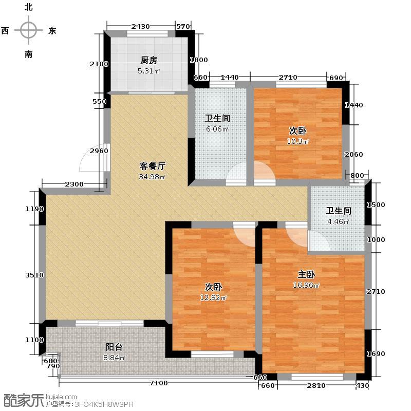 龙湾1号公馆132.00㎡A户型3室2厅2卫