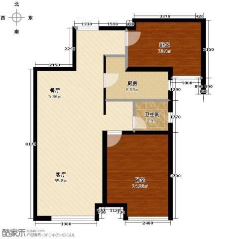 华远海蓝城2室2厅1卫0厨82.00㎡户型图