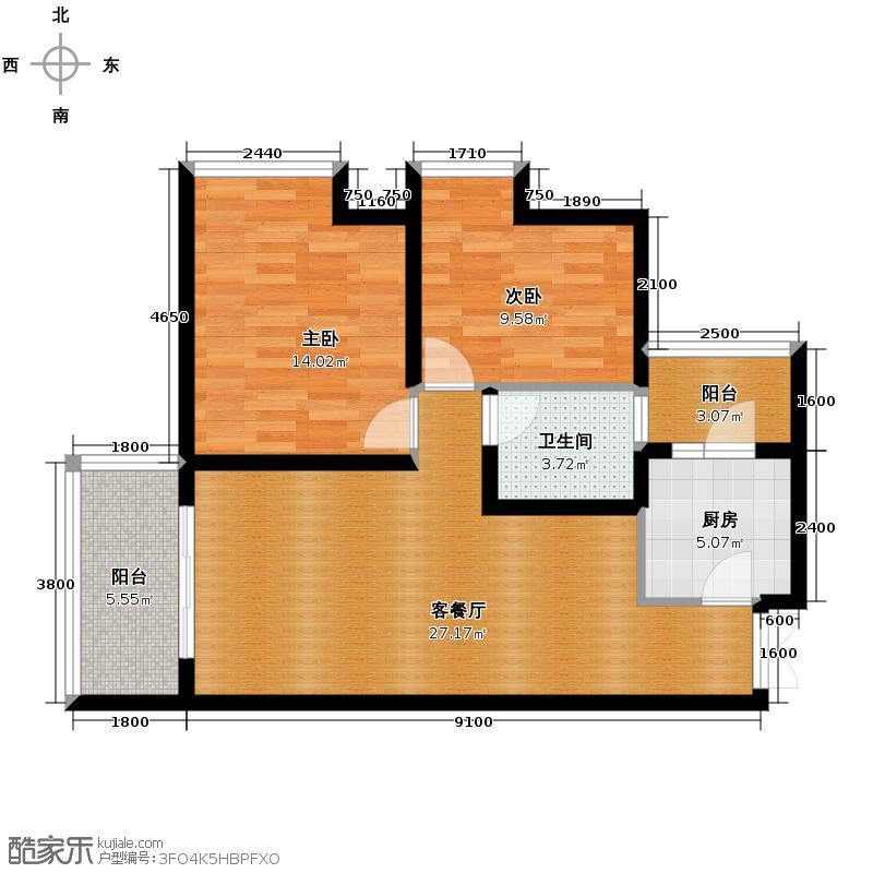 融汇温泉城79.83㎡6#楼融汇国际温泉城户型2室1厅1卫1厨