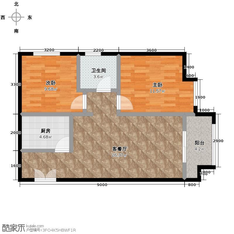 金辉天鹅湾82.00㎡12号楼户型2室2厅1卫