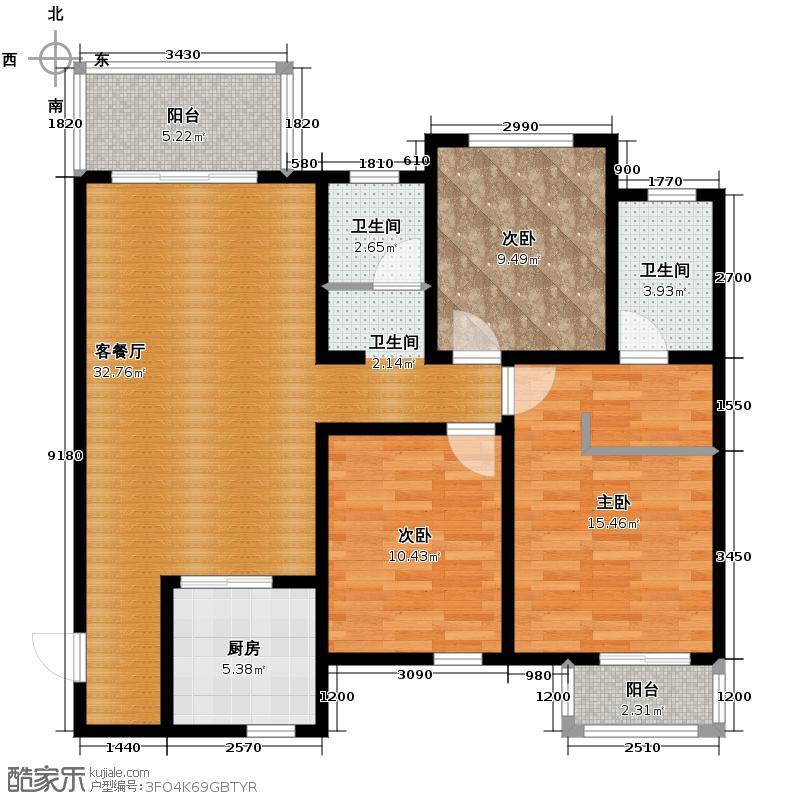 听城117.20㎡F户型3室1厅2卫1厨