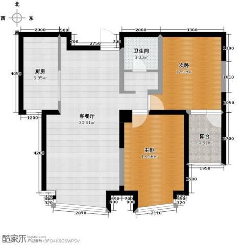 钓鱼台七号2室1厅1卫1厨101.00㎡户型图
