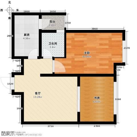 龙天名俊2室1厅1卫1厨53.00㎡户型图