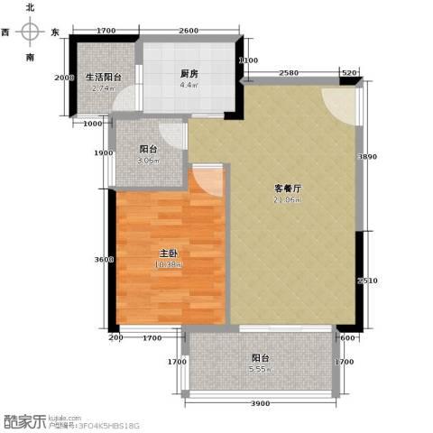 奥园金域1室1厅0卫1厨53.22㎡户型图