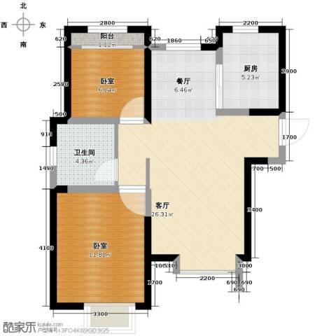 旭辉澜郡2室2厅1卫0厨85.00㎡户型图