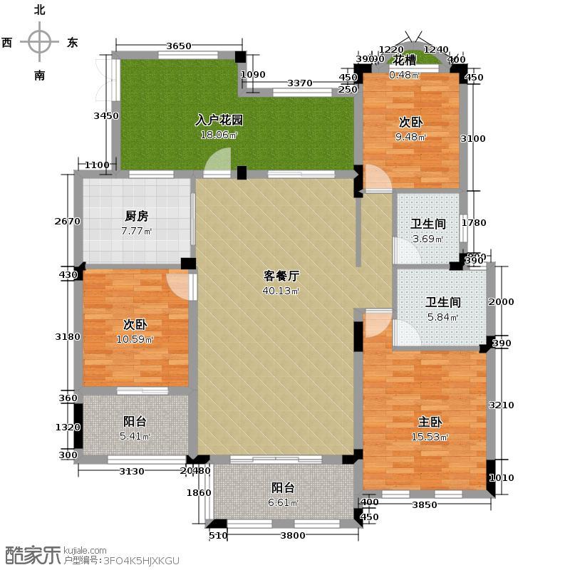 力帆枫樾122.40㎡一期标准层A5户型3室1厅2卫1厨