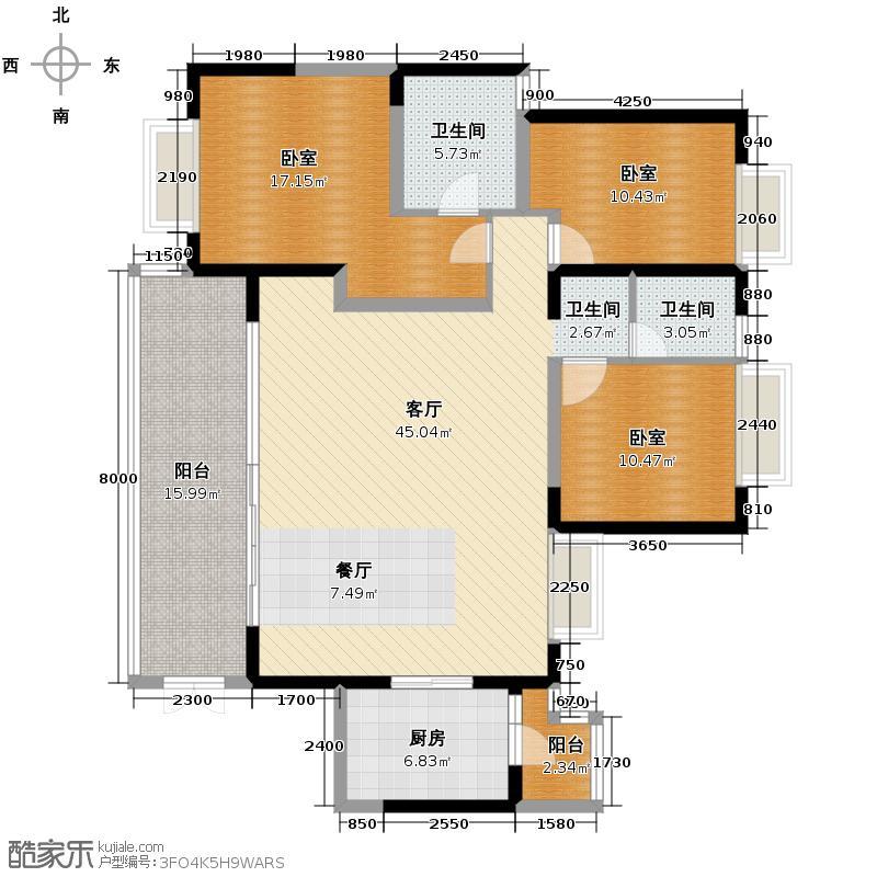 仁和春天国际花园145.06㎡A3户型3室2厅2卫