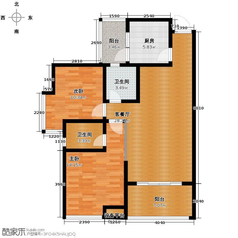 东山国际新城97.62㎡E区户型2室2厅2卫