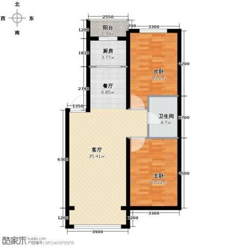 包豪斯国际社区2室1厅1卫1厨102.00㎡户型图
