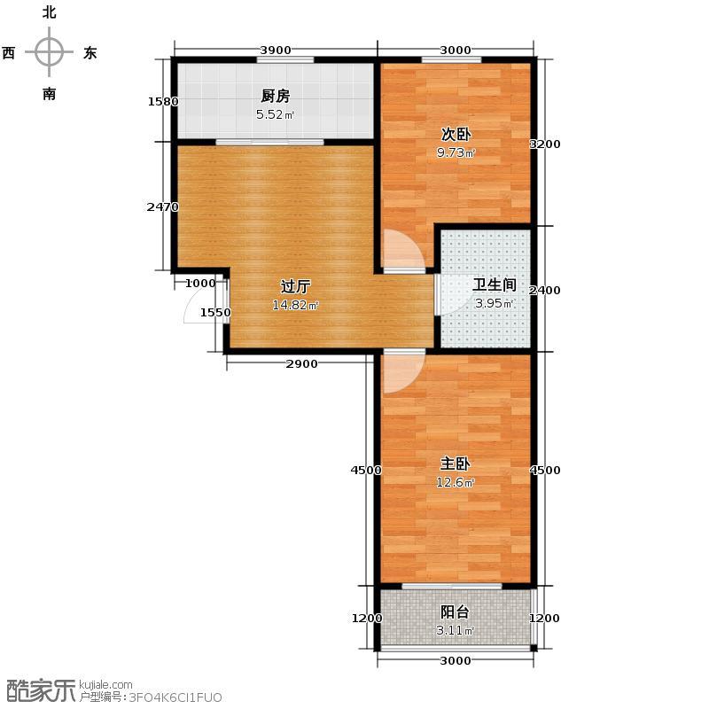 远大花园58.50㎡户型2室1厅1卫