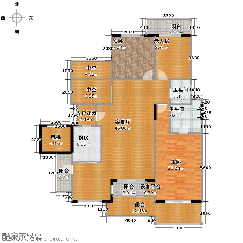 蓝溪谷地120.00㎡图为3FB户型3室1厅2卫1厨