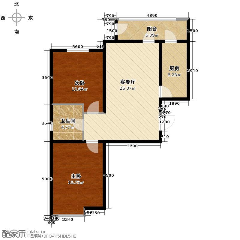 荔隆观邸99.19㎡D1户型2室2厅1卫