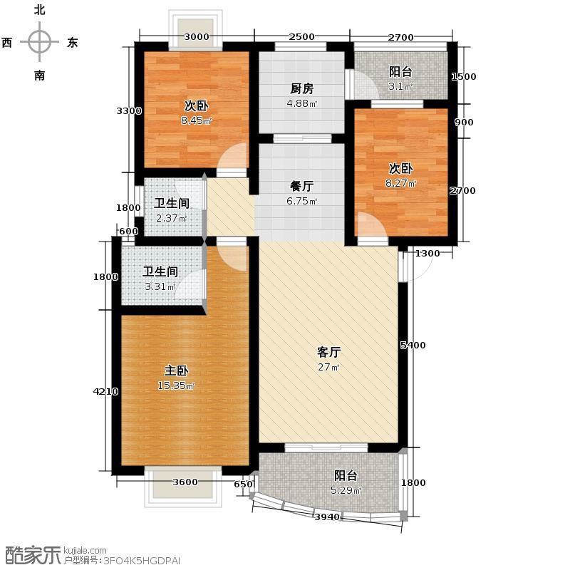 景秀西江91.06㎡一期3栋2单元6栋1、2单元7栋2单元B型3室户型3室2厅2卫