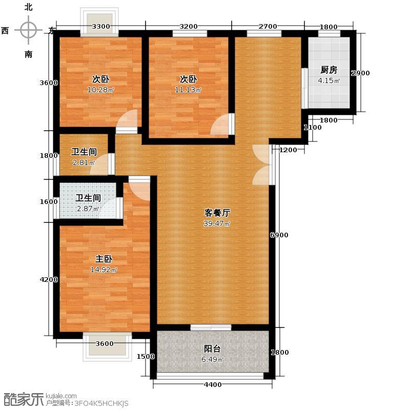 华宇凤凰城125.35㎡X2户型3室2厅2卫