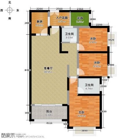 奥克斯广场3室1厅2卫1厨126.00㎡户型图