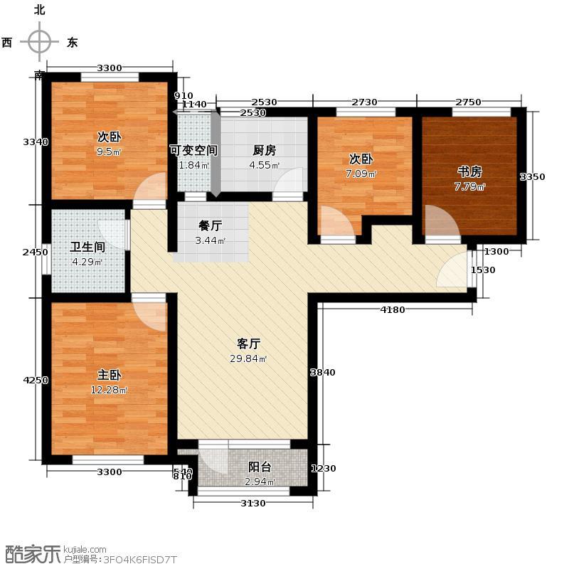 鸿坤・理想湾114.10㎡G户型3室2厅1卫