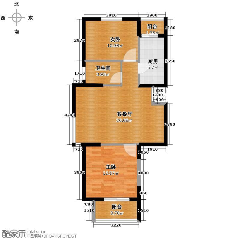 中兴和园89.00㎡1#2#5#1单元-01-B3二室户型2室1厅1卫1厨