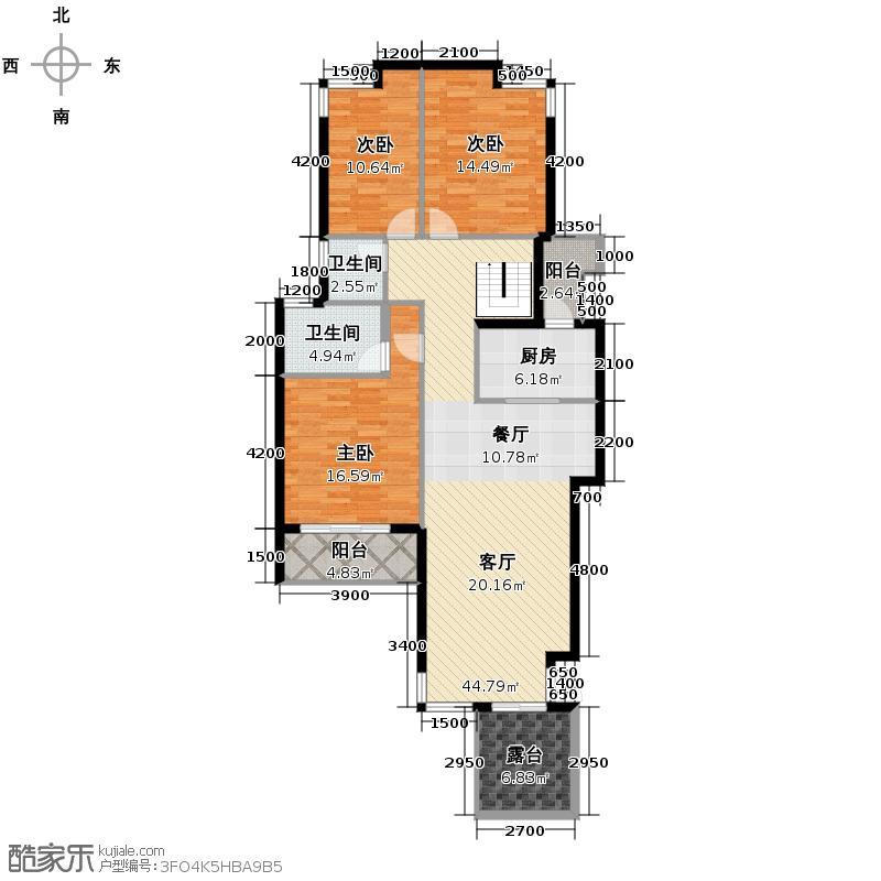 当代国际花园十五区高层128.02㎡户型10室