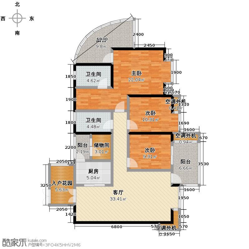 红树湾128.44㎡E1'-5双卫户型3室2厅2卫
