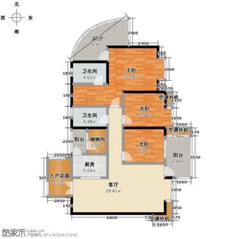 红树湾3室2厅2卫0厨128.00㎡户型图