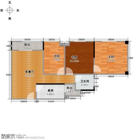 碧桂苑3室1厅1卫1厨65.86㎡户型图