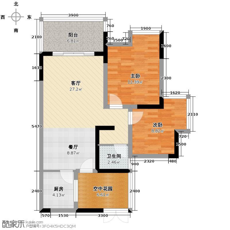聚义香城雅郡69.98㎡5#6#户型2室1厅1卫1厨