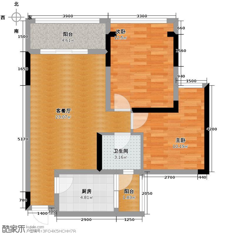 金鹏两江时光64.10㎡一期5-8号楼标准层C10户型2室1厅1卫1厨