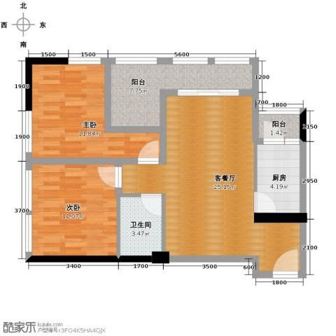 羲城蓝湾2室1厅1卫1厨75.66㎡户型图