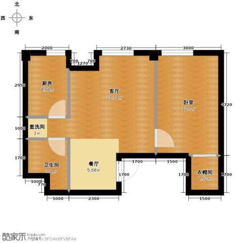 国民院子1室2厅1卫0厨69.00㎡户型图