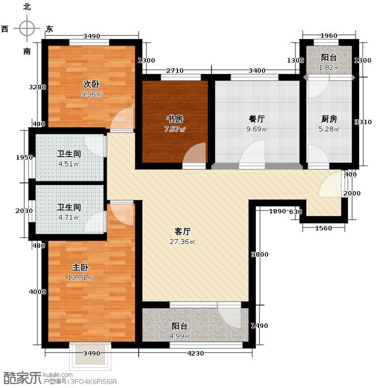 鸿坤・理想湾126.70㎡H户型3室2厅2卫