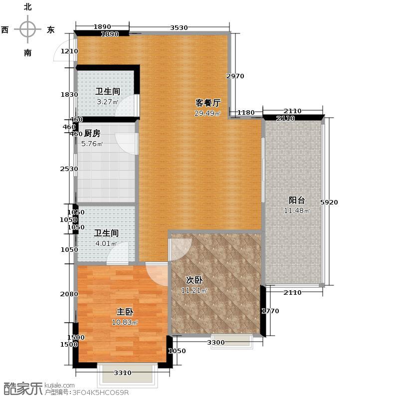 盛美居74.75㎡一期1栋-6标准层户型2室2厅1卫
