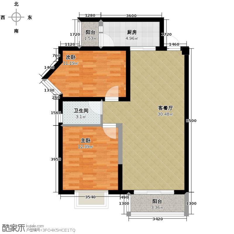 都江明珠87.00㎡B2型户型2室1厅1卫1厨