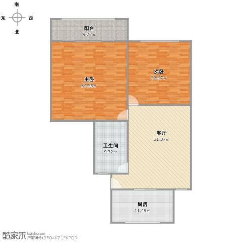 虹福小区2室1厅1卫1厨157.00㎡户型图