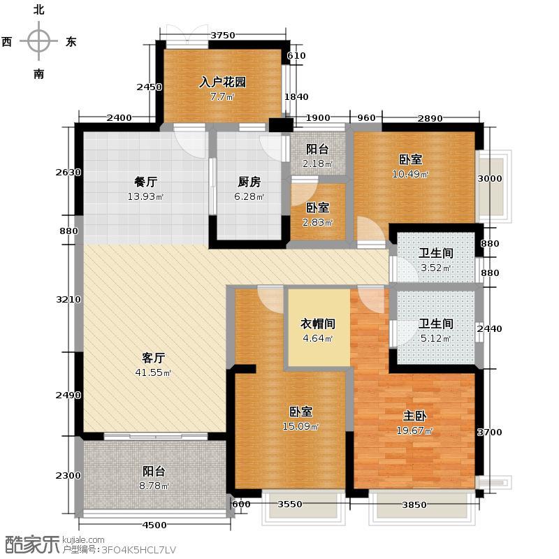 仁和春天国际花园156.02㎡A1户型3室2厅2卫