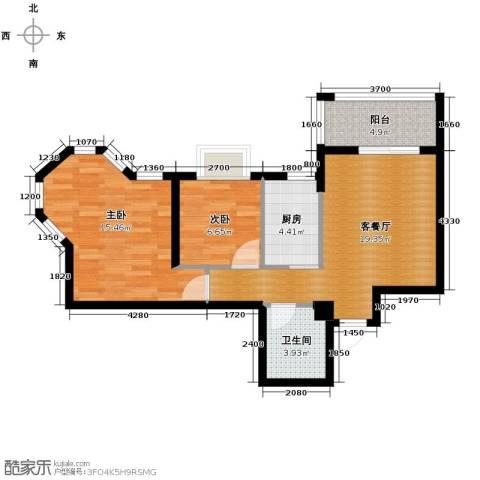 福地华庭2室1厅1卫1厨63.10㎡户型图