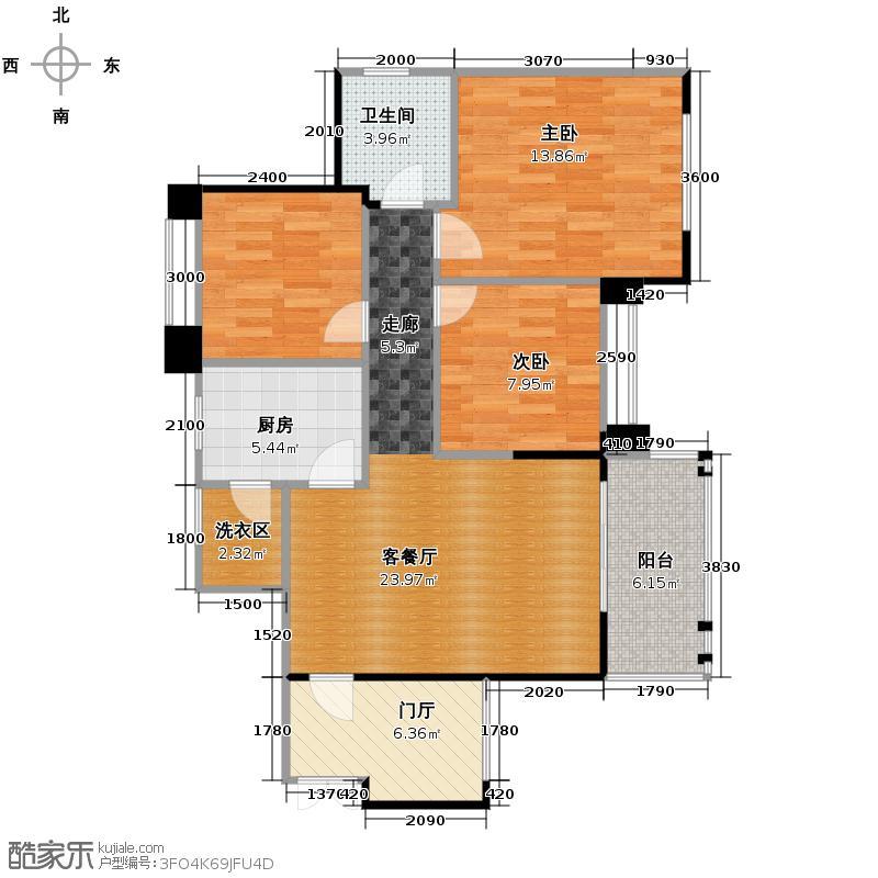 西城鸥鹭湾90.57㎡一期A1标准层户型3室2厅1卫